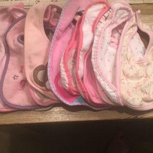 Assortment of 12 baby girl bibs